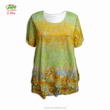 Printed ladies blouse OEM modern Stylish comfortable office casual blouse designs