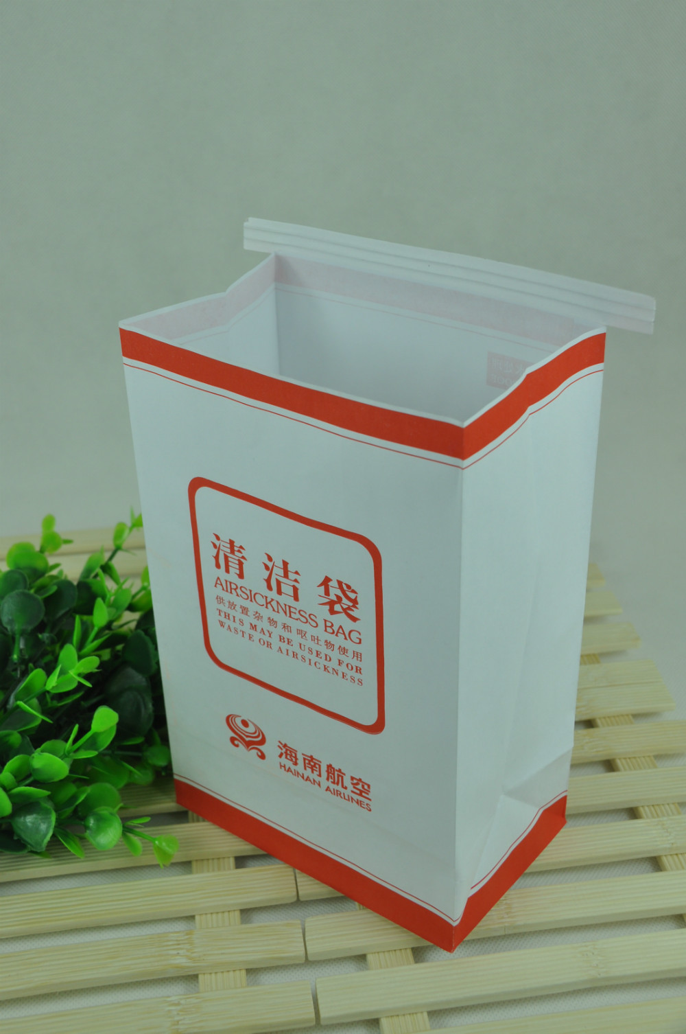 Horizontal clip square bottom waterproof air sickness paper bag