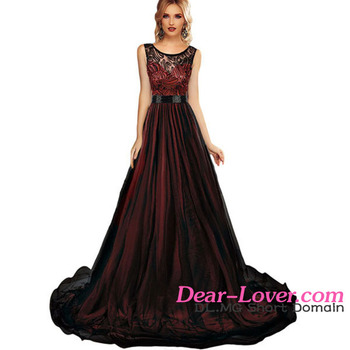 Elegant Sheer Lace Mesh Overlay Burgundy Queen Party Gown women dresses long
