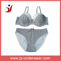 2014 js-759 hot selling black and white plaid bra and panties (accept OEM)