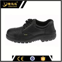 Black Low Cut Split Leather Upper Rubber Outsole Safety Jogger