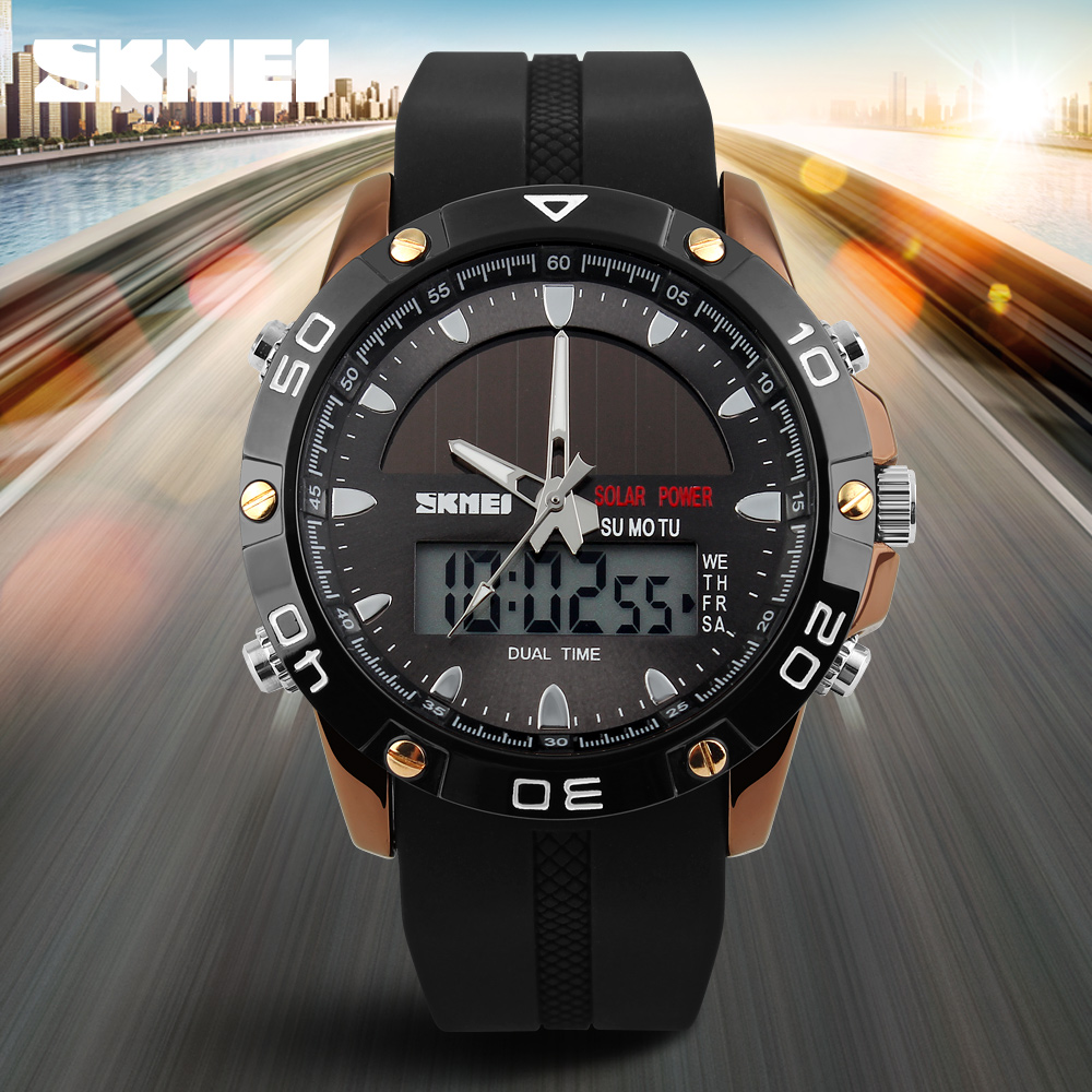 SKMEI Promotional Solar Custom Brand Sports Watches For Men Running 5ATM