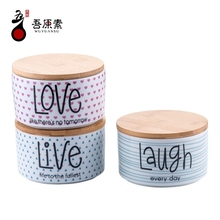 Direct selling small storage ceramic jar with wooden lid