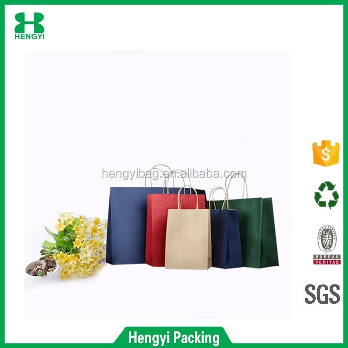 P02 Wenzhou HY Custom Printed Hand Shopping Retail Kraft Paper Bag/drawstring bag cord