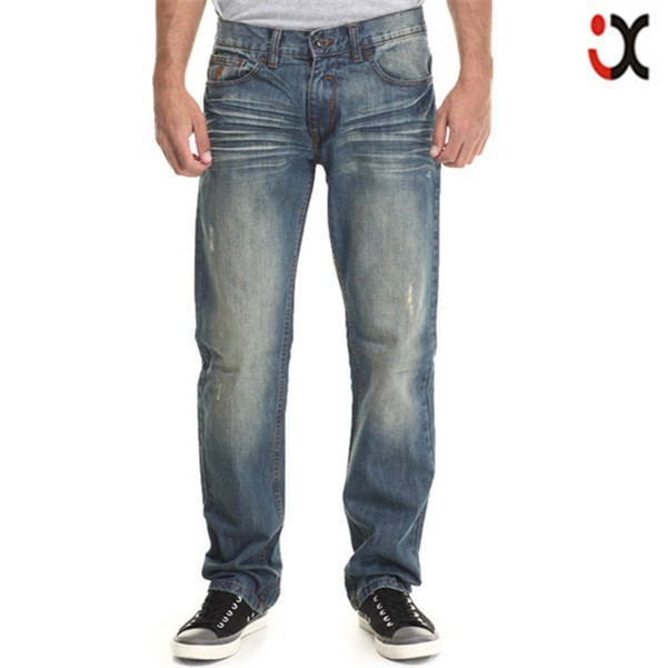 2017 straight fit medium wash blue wholesale men jeans JXZ103