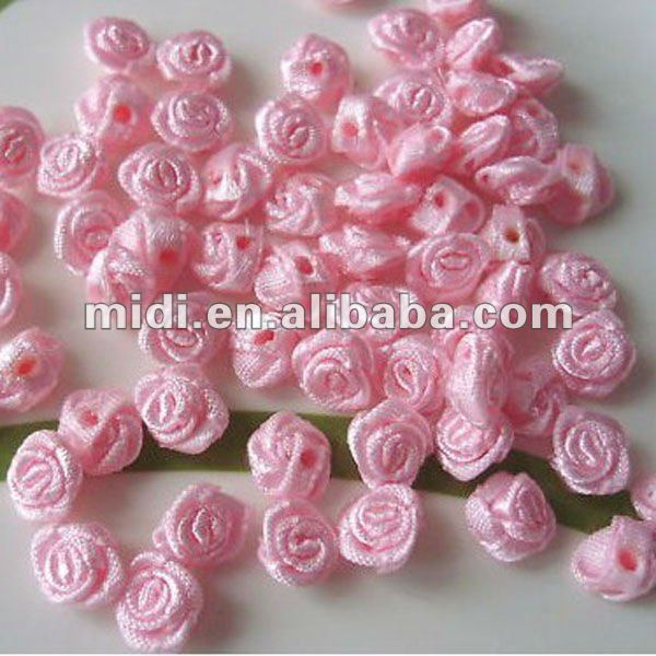 9mm Satin Ribbon Rose Flower Craft Trim Bridal Pink for garment accessories