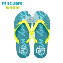 Durable synthetic rubber cheap M square non-slip green mens travel flip flops