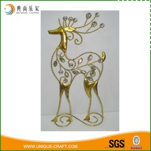 Decorative Golden And Silver Glitter Metal Wire Reindeer