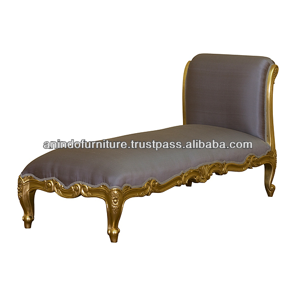 Mahogany Versailles Chaise Lounge Sofa with Silk Upholstered