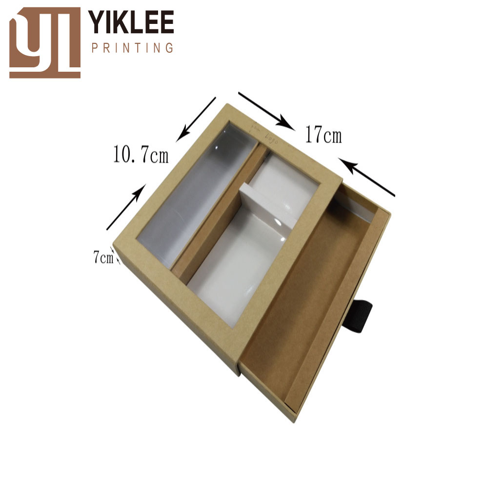 Eco-friendly kraft cardboard box paper packaging box with drawer box for necktie packaging