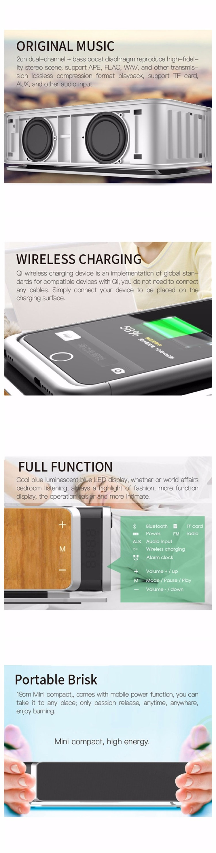 Fashion High-qulity Music effect Bluetooth Speaker with Qi Standard Remote Wireless Charger