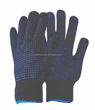 string cotton knitted pvc dotted white gloves with good grip