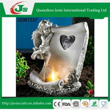 Candle holder with angel photo frame, for grave
