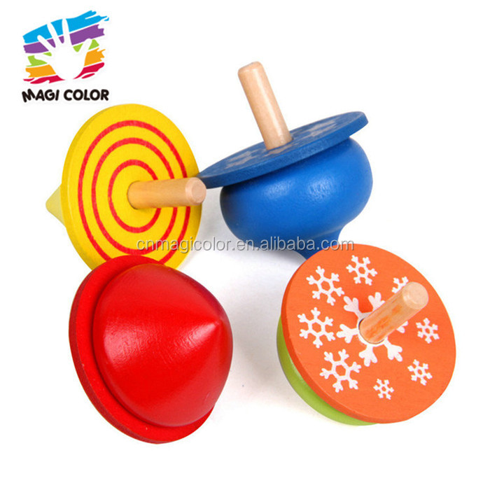 Wholesale 4 pcs tabletop or outdoor wooden spin top toy bring fun to children W01B077