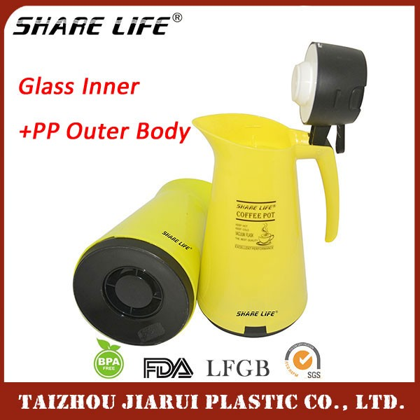 PP Plastic Outer Casing Glass Liner OEM 1.0L Thermos Flask Kettle,Thermos Tea Pot