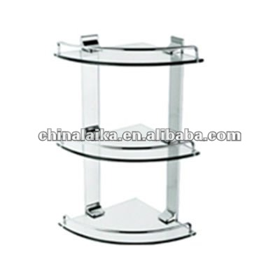 triple tier bathroom glass corner shelf WT-1303
