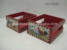 HOT SALE S/2 WOODEN STORAGE BASKET RED CRATE