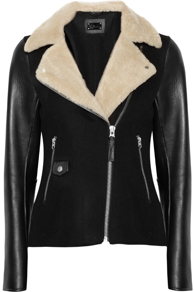 Danica wool-blend and leather jacket