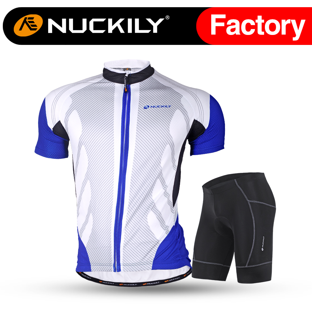 Nuckily men's short sleeve sublimation printed riding clothes with gel pad set