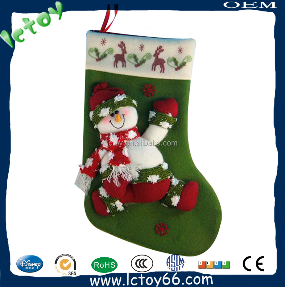Christmas products green socks embroidered santa plush socks for new year