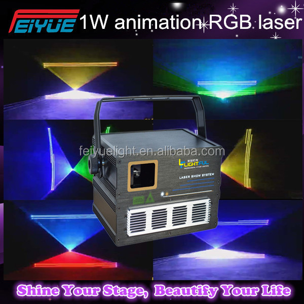 Cheaper advertising laser RGB 1W full color animation laser /1W RGB DJ club light/ DMX beam animation stage light