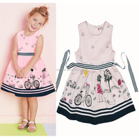 2017 Casual Home Sweet Girl Dressing Cartoon Characters Baby Dresses Bow Fabric Belt Pink Girls Dress