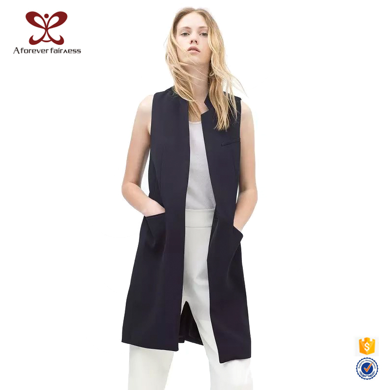 A Forever Fairness New Model Navy Suit Work Woman's Long Vest