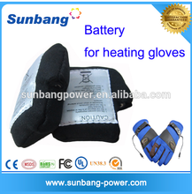 Hot sale 7.4v lithium polymer battey rechargeable battery pack for heated gloves/clothes wearable warm products with CE MSDS
