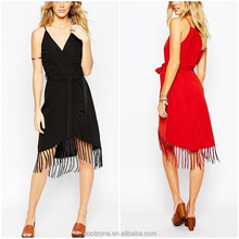 Fashion clothing supplier regluar fit wrap woman dress with fringes
