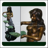 Mermaid Lady Bronze Water Fountain With Lotus Leaf