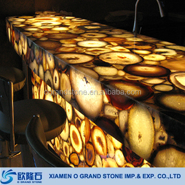 Large Golden Agate Semiprecious Stone Slabs for Countertop