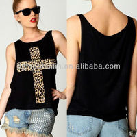 leopard cross pattern print sleeveless of the woman sex horse wholesale vest t-shirts