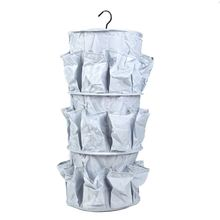 3 Layers 24 Pockets Foldable Storage Bag Multifunctional 3-Tier Hanging Closet Carousel Organizer for Clothes Accessories