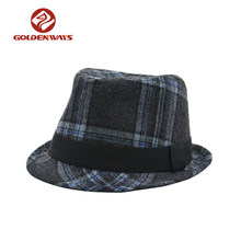 Checker jazz mens winter fedora wool felt hat