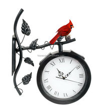 red bird led solar garden clock