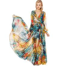 Boho long sleeve women summer beach V-neck printing design your pattern good quality casual wholesale floral chiffon maxi dress