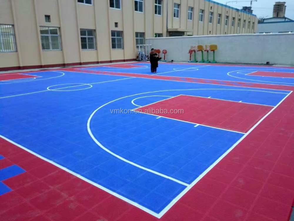 vmkon outdoor basketball court soft and resilient surfaces noise reduction pp flooring vsa-303010