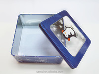 rectangular tin box with clear PVC or PET window, good for displaying product inside