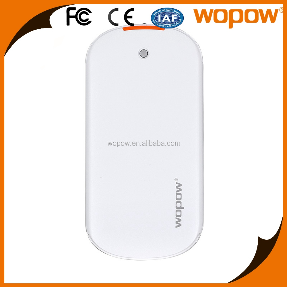 WOPOW Christmas gift Built-in cable portable Dual USB Super Slim phone power bank with cable