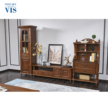 New Design Solid Wood 1.6M India Furniture Tv Showcase/Corner Lcd Tv Furniture