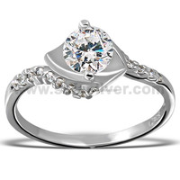 2015 Cubic Zirconia 925 Sterling Silver Engagement Ring Wholesale CZ Jewelry from Thailand