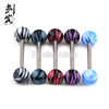 316L Surgical Steel Barbell with Wonderful Stripes UV Ball Tongue Bars