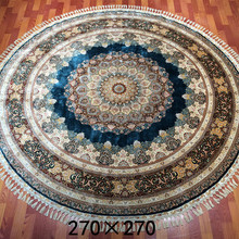 9x9ft hand knotted blue persian handmade silk carpet nain