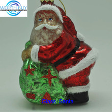 Glistening old time vintage father Christmas ornament W/ big belly from Shenzhen supplier