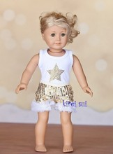 "18"" American Girl Doll Rhinestone Gold Star Tank Top with Bling Gold Shorts"