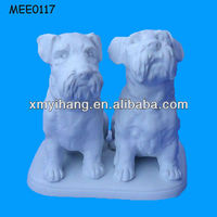2013 New obedient dog pair animal ceramic Bisque