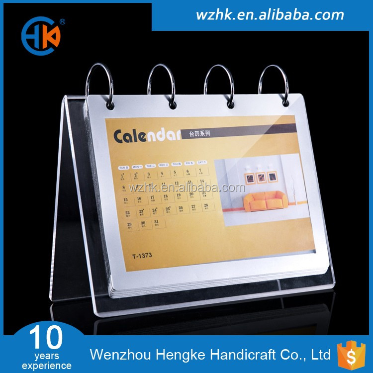2017 Hotsale acrylic desktop calendar holder for offices