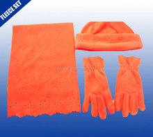 Orange plain color babies winter knit fleece scarf hat gloves