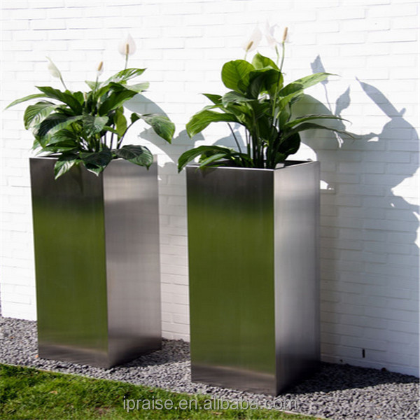 Tall square 304 stainless steel flowerpots outdoor planters for garden