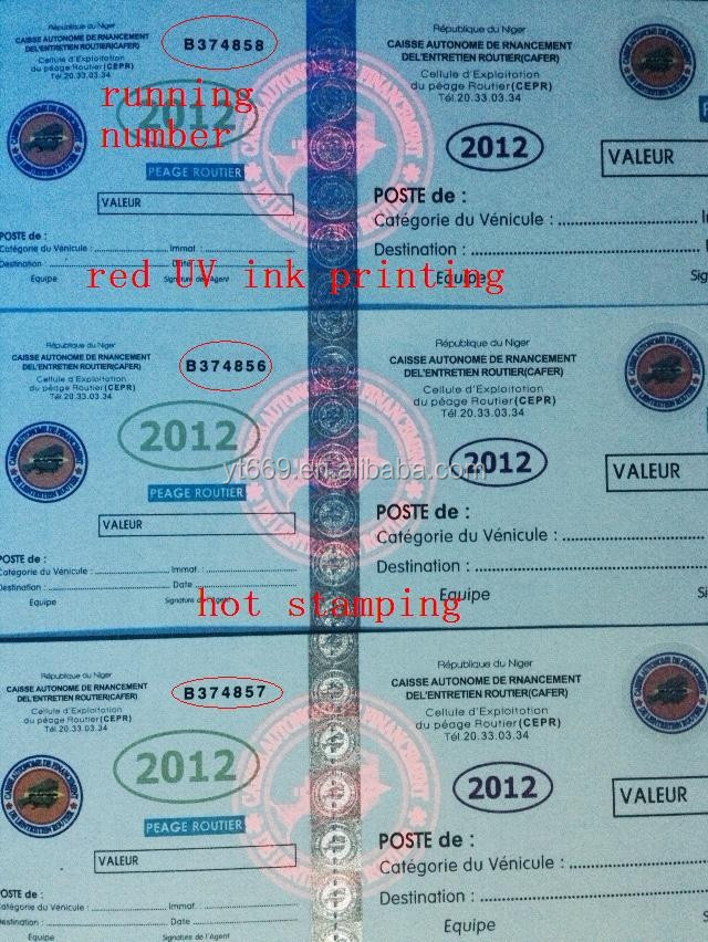 high security ticket with watermark un ink hologram and running number